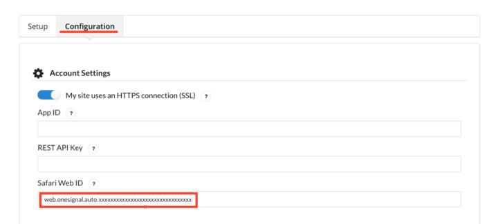 Safari のWeb ID を設定入力欄に貼り付けます