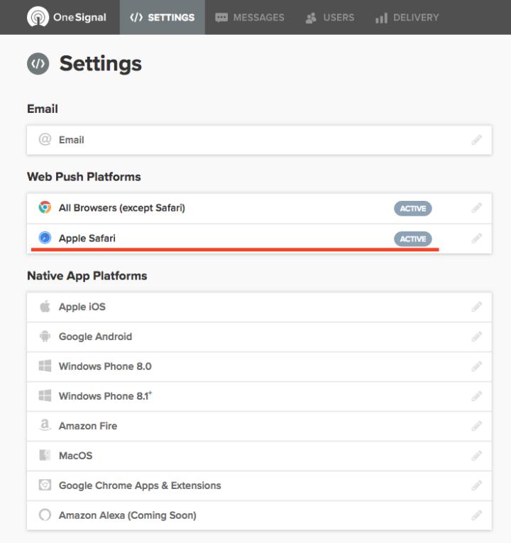 Safari のウェッブプッシュ通知がアクティブになりました。