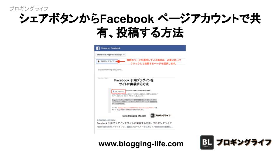 シェアボタンからFacebookのページアカウントで共有、投稿する方法