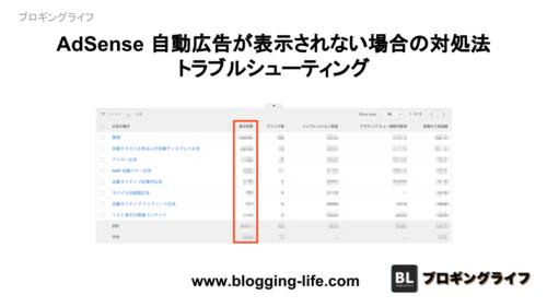 AdSense 自動広告が表示されない場合の対処法、トラブルシューティング