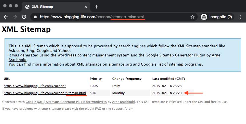 HTMLサイトマップがXMLサイトマップ内に含まれています