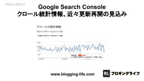 Google Search Console クロール統計情報、近々、更新再開の見込み