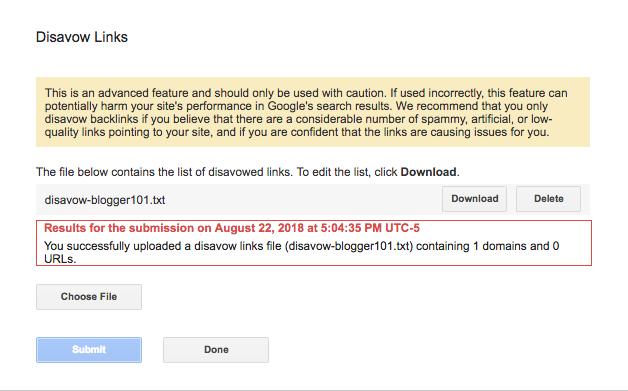 リンク否認ファイルをアップロード後のメッセージ表示