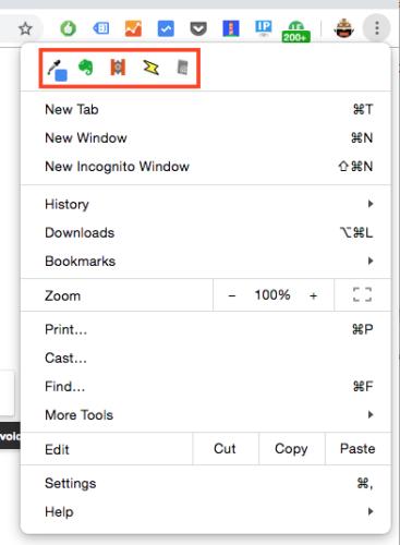 ツールバー非表示にした拡張機能アイコンは、Chrome設定プルダウンメニューに含まれて表示されます。