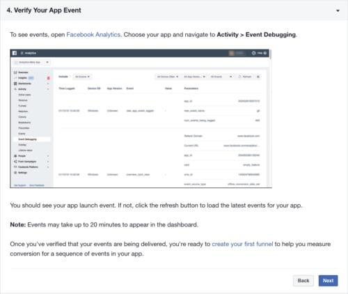 設定中のFacebook Analyticsのページ