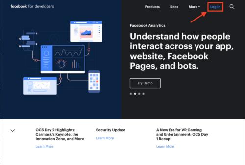 Facebook Developer サイトにアクセスして、ログインをクリックします。
