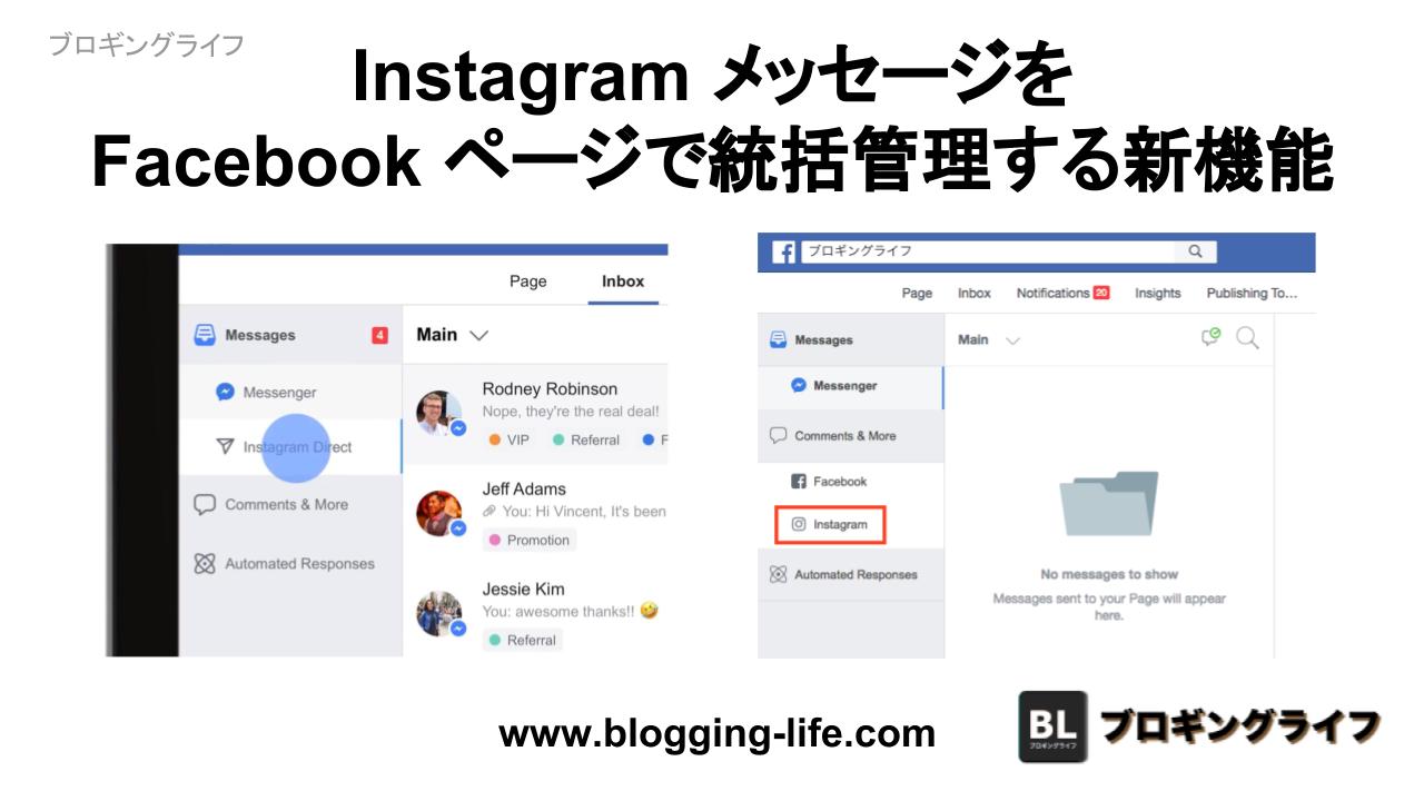 Facebook が Instagram メッセージをFacebook ページで統括管理する機能を発表