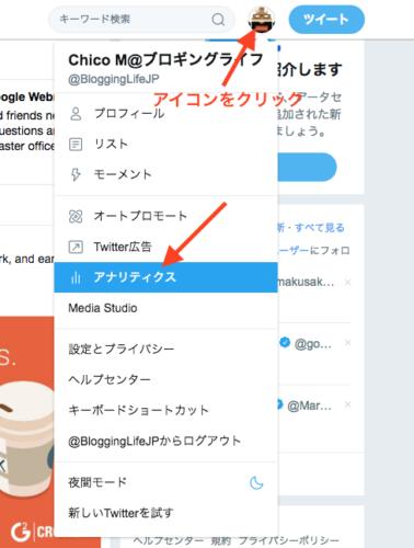 Twitter アカウントアイコンをクリックしてアナリティクスを選びます