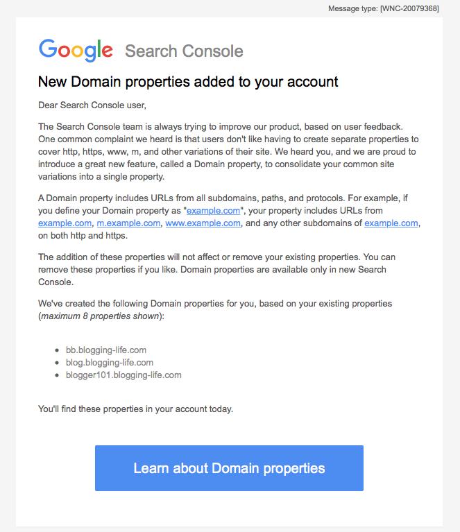ドメインプロパティ追加のGoogle Search Consoleからの通知メール