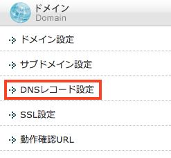 エックスサーバーのサーバーパネルのDNSレコード設定を選択します