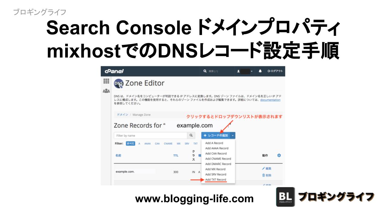 Search Console ドメインプロパティ確認用 mixhost DNSレコード設定方法