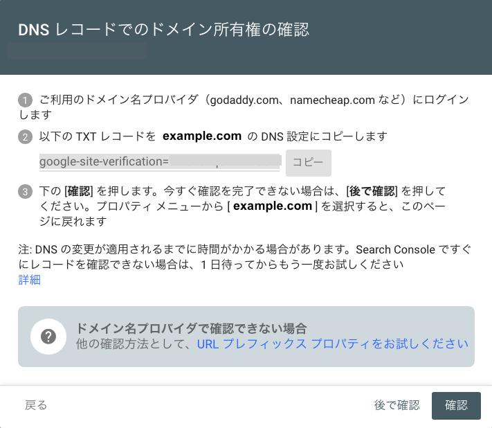 DNS レコードでのドメイン確認手順