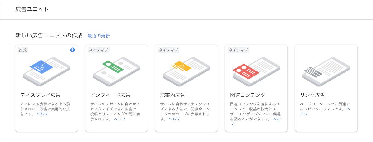 新しい広告ユニットの作成ページの広告フォーマット選択表示