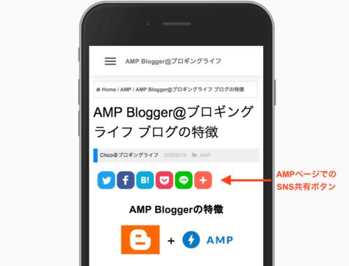 AddThis のAMP 共有ボタン例