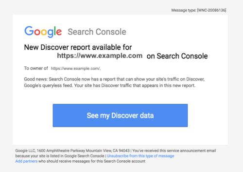 Discover Search Consoleレポート追加の案内のメール通知例