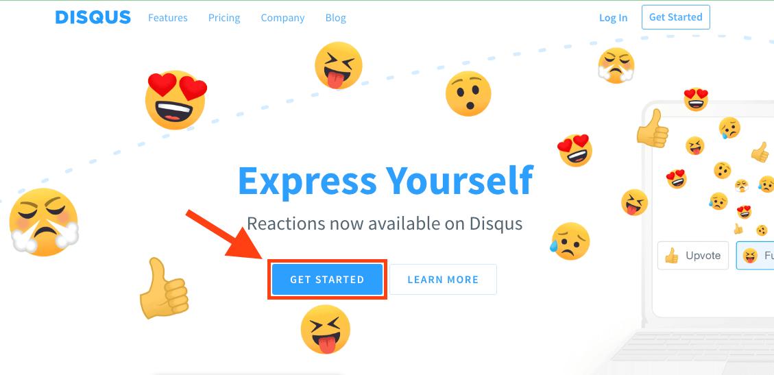 """Disqusのホームページで""""Get Started""""ボタンを押します。"""
