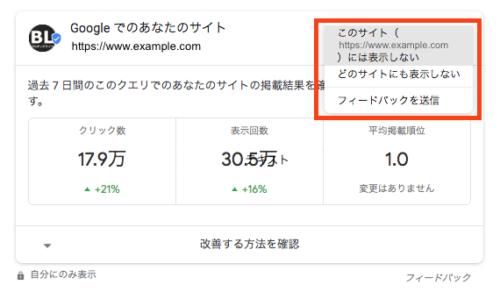 検索結果に表示されるサイトの検索パフォーマンス指標の設定変更アイコン