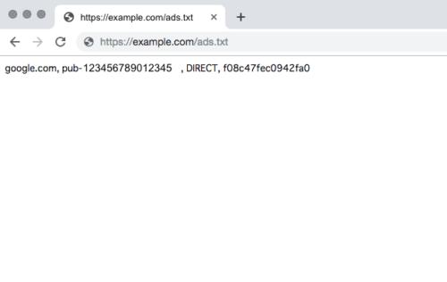 ブラウザーでads.txtの確認を行います