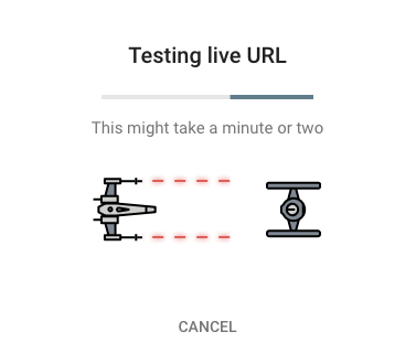 スターウォーズモードのURL検査ツール実行中表示