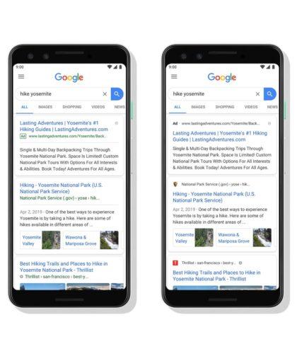 Google 検索結果表示の新旧デザイン比較