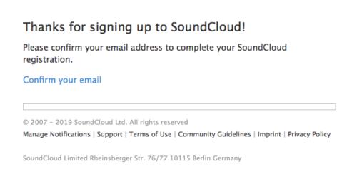 SoundCloudからのメールアドレスの確認メールの内容