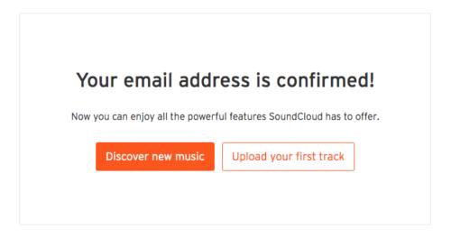 SoundCloud Eメールアドレス確認完了メッセージ