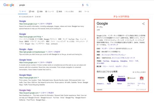 検索結果に表示されるナレッジパネルの例