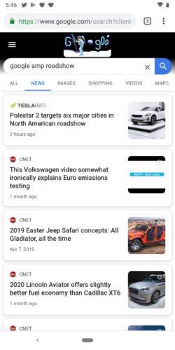 モバイル端末 Newsタブ の検索結果表示例