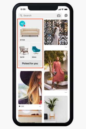 Pinterest ホームフィードトップに表示されるショッピングセクション