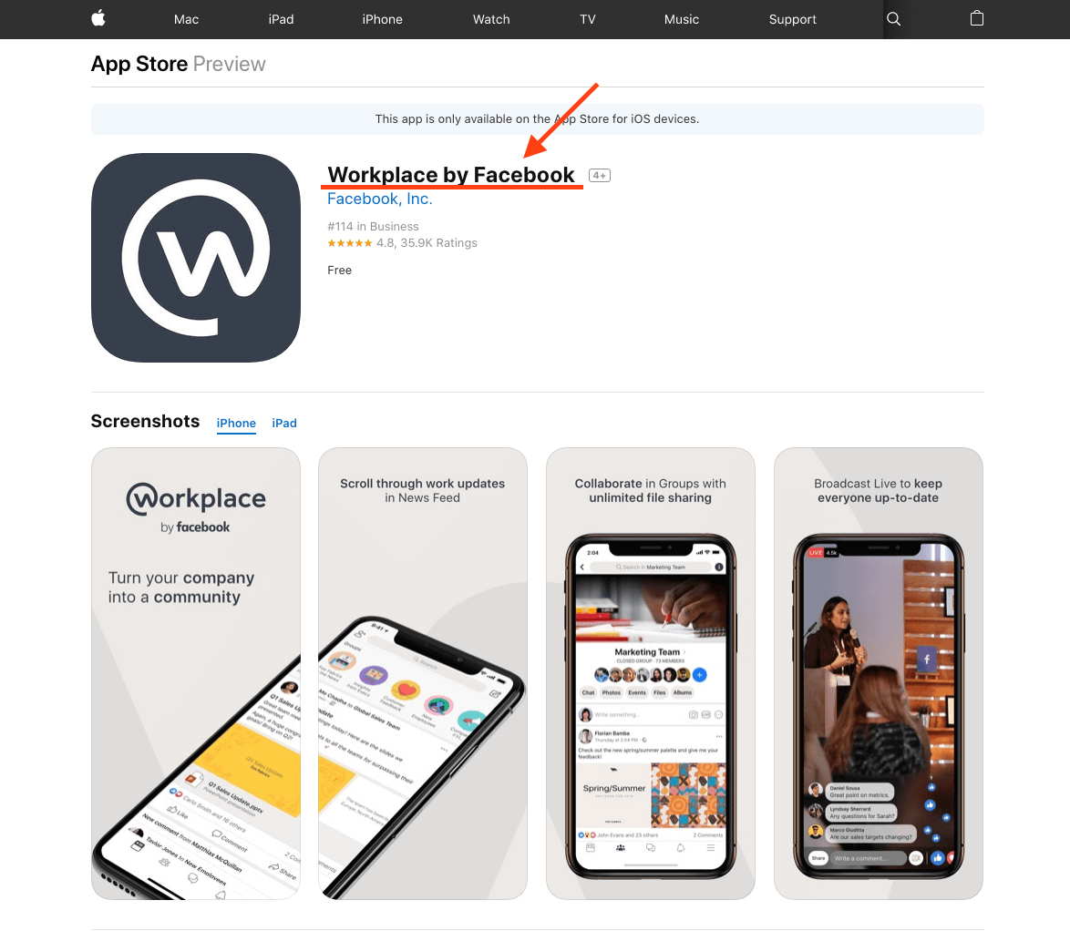 AppleのアプリストアでWorkplace by Facebookの名称表示