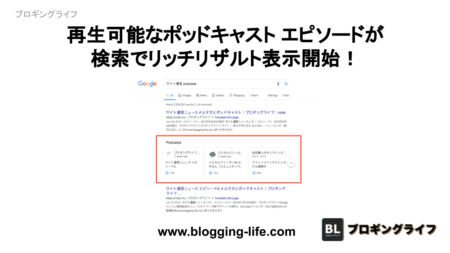 Google 再生可能なポッドキャスト エピソードが検索でリッチリザルト表示開始!