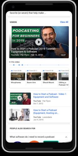 検索結果にビデオ内の重要な箇所をタイムスタンプ付きで表示