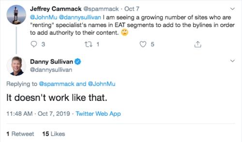 E-A-Tの評価を高めるためにエキスパートの名前を借りることは機能しないというTwitterでの応答