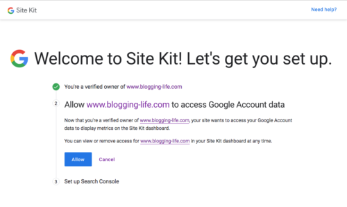 WordPress サイトがGoogle アカウントのデータにアクセスすることを許可する確認手続き