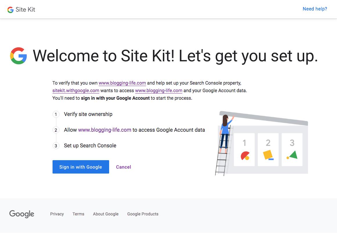 Google Site Kit プラグイン セットアップスタートページ