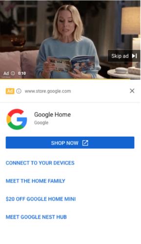 サイトリンクとビデオリンクを組み合わせた広告例