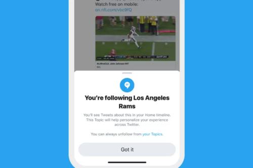 Twitter トピックをフォローする機能の表示例