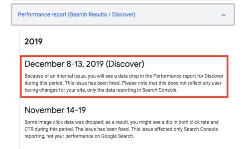 Search Console Discoverのパフォーマンスレポート不具合発生報告