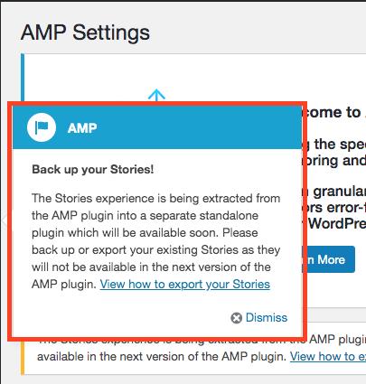 公式AMPプラグインバージョン1.4.3に表示されるStoriesバックアップ推奨通知