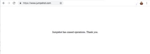 閉鎖されたJumpshotのホームページ