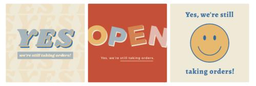 お店が開店していること、注文受付可能を伝えるバナー