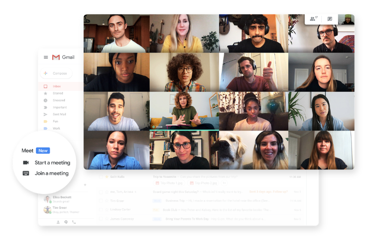 GmailからGoogle Meet利用可能の事例画面