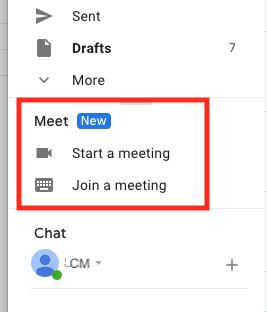 Gmailのメニューに表示されるMeet機能