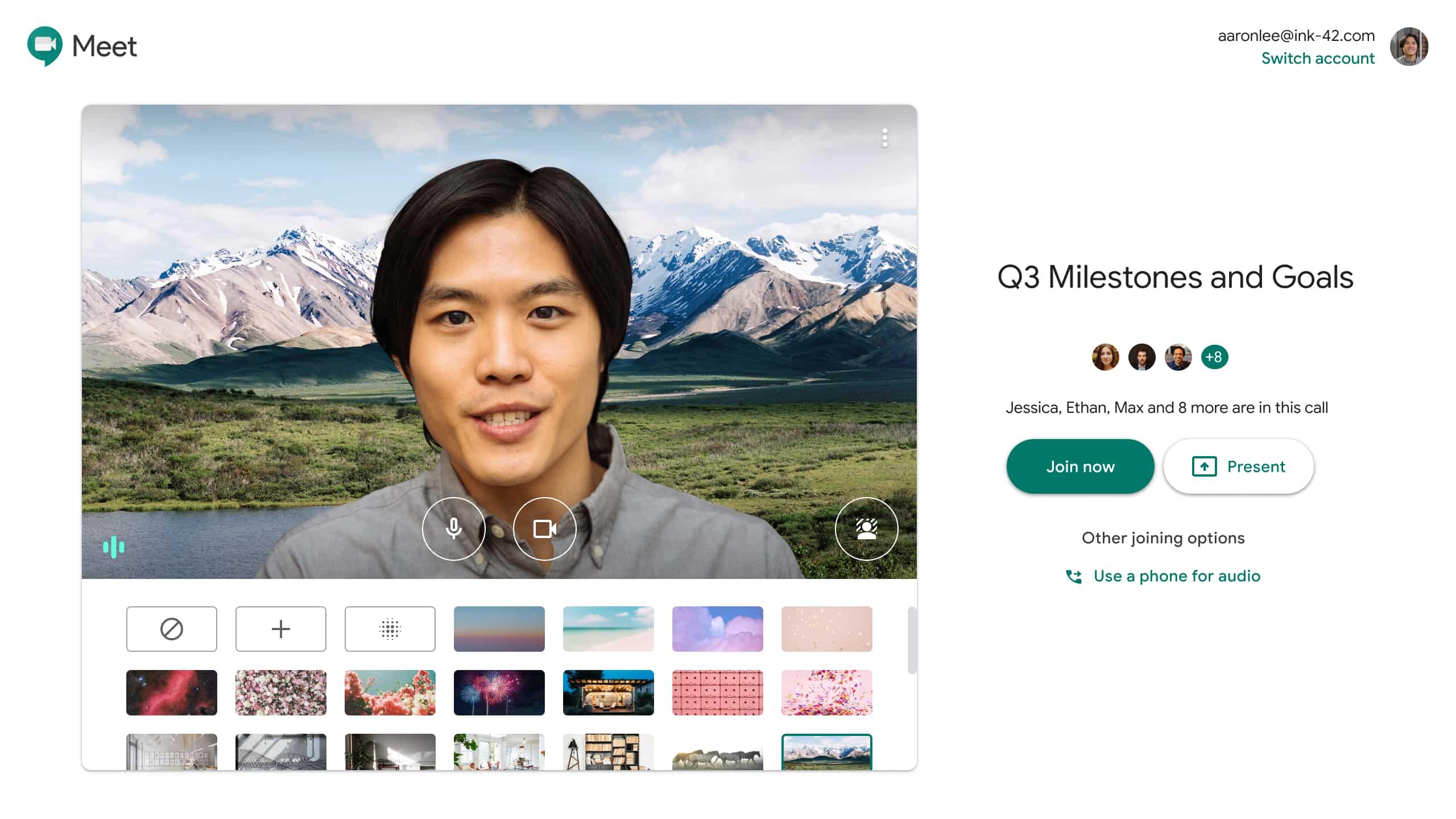 Google Meet 背景画像カスタマイズ機能