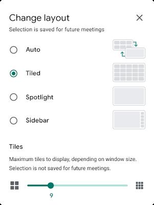 Google Meetのレイアウト設定とタイル表示数の設定用スライダー