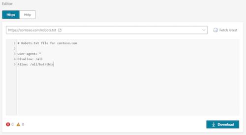 bingのrobots.txt テストツール編集画面表示例