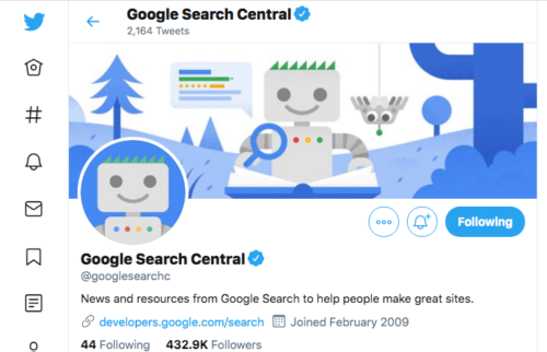 Google Search Central Twitter アカウント