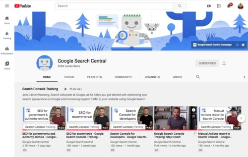 Google Search Central YouTubeチャンネル