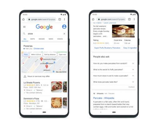 パンケーキとピザの検索結果表示の違い例