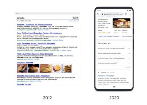 2020年と2012年の検索結果表示比較例